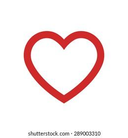Heart outline icon, modern minimal flat design style. Vector illustration, love symbol