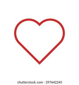 Heart outline icon, modern minimal flat design style. Love thin line symbol, vector illustration
