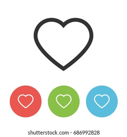 Heart outline icon. Vector flat symbol. Shows medical care, wishlist, health, favorite items, love or like button. Modern concept for Valentines Day. Minimalistic trendy design