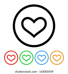 Heart Outline Icon Vector with Four Color Variations