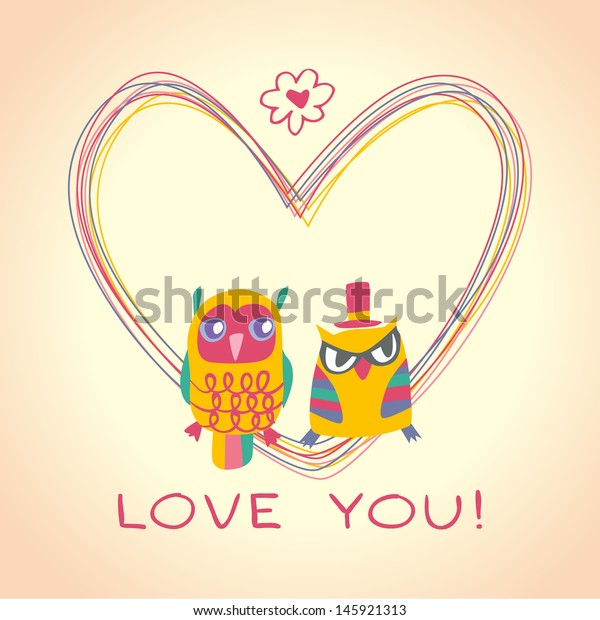 Heart Owls Gift Card Sample Text Stock Vector Royalty Free