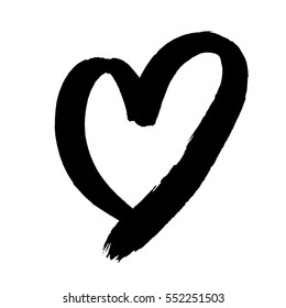 Heart of paint brush black ink for Valentines day design. Heart drawing marker or felt-tip pen on white background. Valentine day, wedding birthday love element symbol