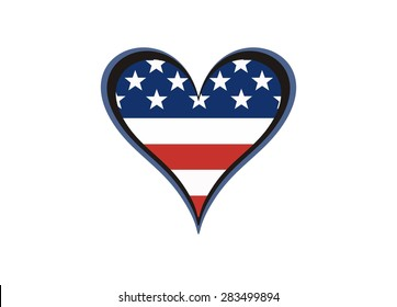 Heart, painted in the colors of the American flag