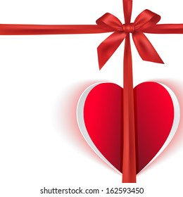 Heart paper effect with red bow on white background