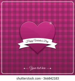 Heart from paper Valentines day card vector background eps 10