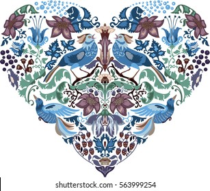 Heart pattern floral silhouettes with blue birds of happiness. Vintage luxury design. Perfect for cards, books, magazines etc