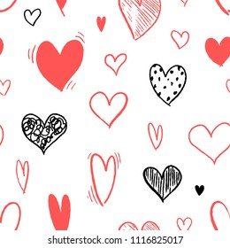 Heart pattern - seamless heart shape texture. Love vector.