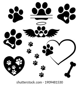 Heart paw icon vector set. Dog paw illustration sign collection. love dog symbol.