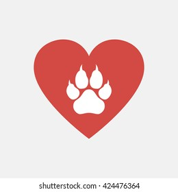 Heart and paw illustration.