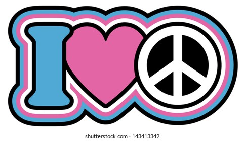 I Heart Peace icon design in Pink and Blue