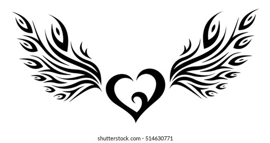 Heart with Peacock Feather Wings Tribal Tattoo