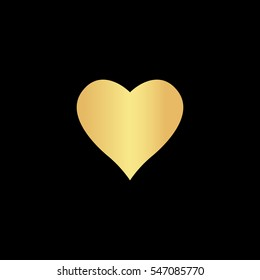Heart pictogram. Gold symbol icon on black background
