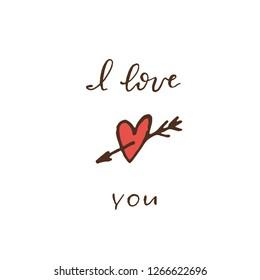 heart pierced by an arrow . I love you lettering