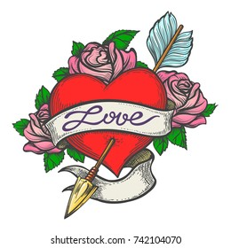 Heart Pierced by arrow with ribbon and handmade lettering Love drawn in tattoo style. Vector illustration