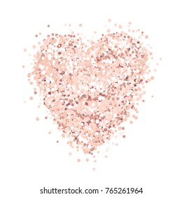 Heart of pink gold glitter on a white background. Template for banner, card, save the date, birthday party, wedding card, valentine etc.