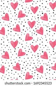 Heart pink Patterns, Heart white Backgrounds, Heart Love Vector Illustration.