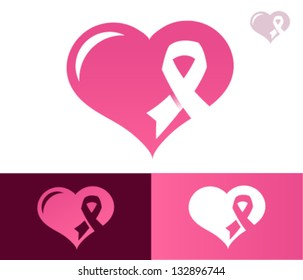 Heart with pink ribbon for breast cancer awareness.