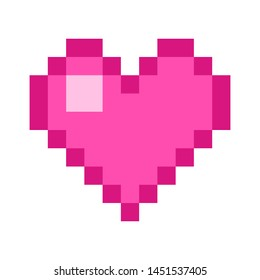 Heart Pixel art 8 bit object. Pink fashion digital game. Pastel icons girly sticker. Vintage assets.
