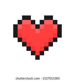 Heart. Pixel art. Retro game style. Vector illustration.