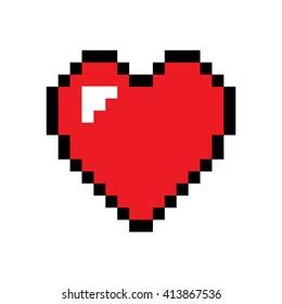 Heart pixel icon . Vector illustration