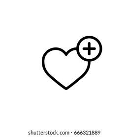 heart with plus, pozitive, wishlist icon line black on white