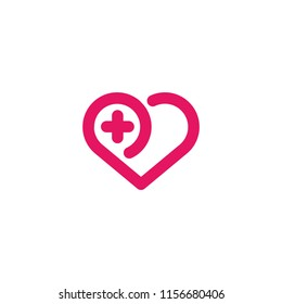 Heart and plus vector icon