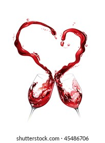 Heart from pouring red wine in goblet in white background