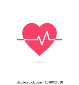 Heart pressure vector icon, good health logo, healthy pulse flat symbol, isolated on white background