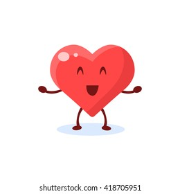 Heart Primitive Style Cartoon Character In Flat Childish Vector Design Illustration Isolated On White Background