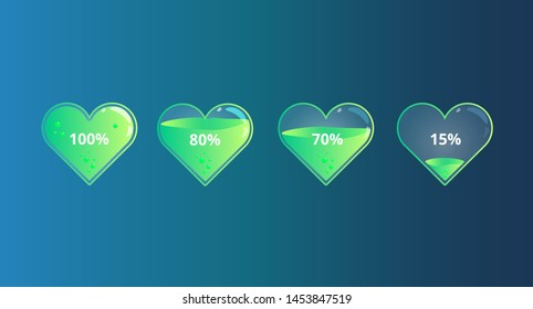 Heart progress bar, batteries, charging love, set of progress bar of heart for web, print. Vector illustration