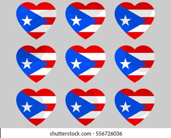 Heart with Puerto Rico flag. I love Puerto Rico. Vector illustration