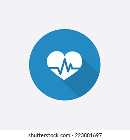 heart pulse Flat Blue Simple Icon with long shadow, isolated on white background