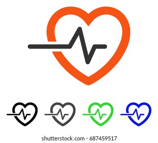 Heart Pulse flat vector icon. Colored heart pulse gray, black, blue, green icon variants. Flat icon style for graphic design.