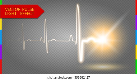 Heart pulse graphic curve line with luminous star. Glow vector light effect on transparent background for design