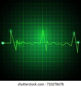 Heart pulse graphic. Ekg line on green background. Cardiogram background. Vector illustration