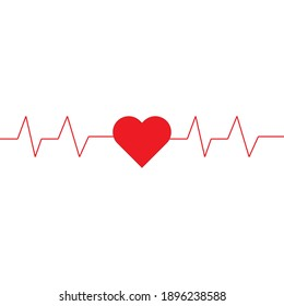 Heart pulse , hand made, red , vector