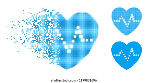 Heart pulse icon in dispersed, dotted halftone and undamaged entire variants. Pixels are grouped into vector disappearing heart pulse form. Disappearing effect uses rectangle pixels.