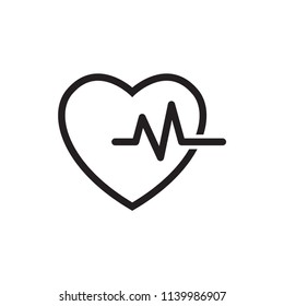 Heart and pulse icon vector