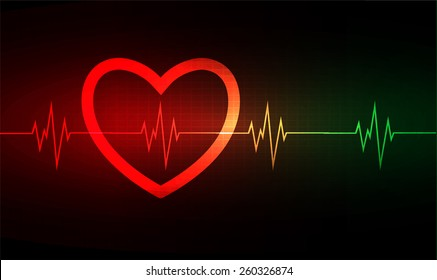 Heart pulse monitor with signal. Heart beat. vector illustration. dark red green background