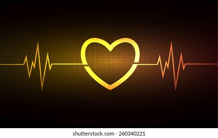 Heart pulse monitor with signal. Heart beat. vector illustration. dark orange background