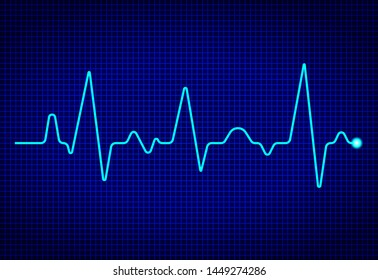 Heart pulse monitor with signal on dark blue background. Heart beat. ekg wave. Health Concept with cardiac frequency. vector
