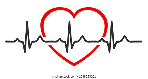 Heart pulse, one line, cardiogram, heartbeat - for stock