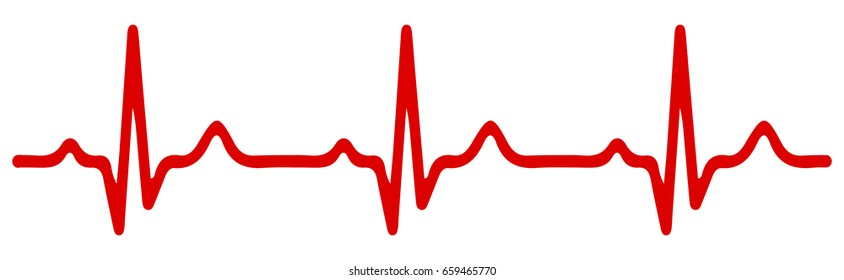 Heart pulse, one line, cardiogram - stock vector