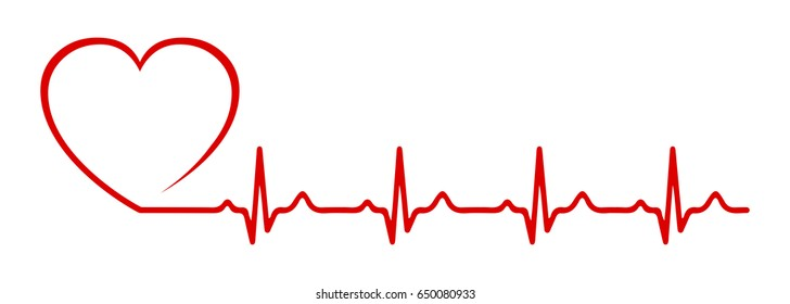 Heart pulse, one line - vector