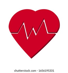 Heart and pulse red on a white background 3d, vector