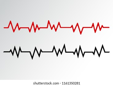 Heart pulse shape line, red and black wave. Vector illustration