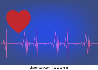 Heart pulse signal on monitor, Electrocardiography concept.