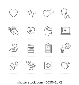 heart and pulse vector line icons, minimal pictogram design, editable stroke for any resolution