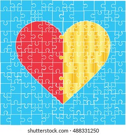 Heart puzzle icon. On a blue background.
