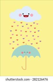 Heart Rain Vector